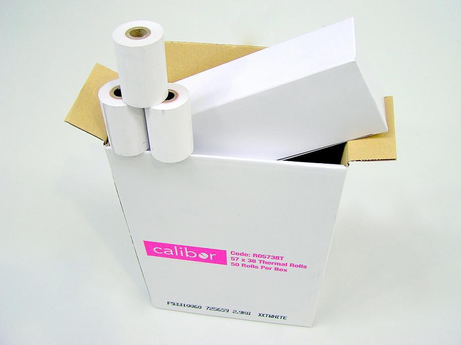 CALIBOR THERMAL PAPER 57X38 50 ROLLS / BOX